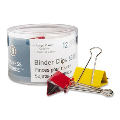 Binder Clips, Large 2W, 1 Capacity, 12 per Pack, Assorted (Set of 3)