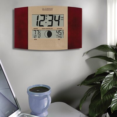 La Crosse Technology Cherry Atomic Wall Clock with Moon & Indoor/Outdoor Temperature at Sears.com