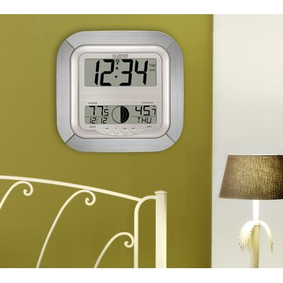La Crosse Technology Atomic Digital Wall Clock with Moon Phase & Indoor/Outdoor Temperature in Silver at Sears.com