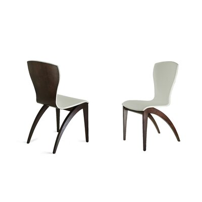 Sinfonia Genuine Leather Upholstered Dining Chair Upholstery Color: Black, Leg Color: Wenge