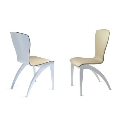 Sinfonia Genuine Leather Upholstered Dining Chair Upholstery Color: Beige, Leg Color: Lacquered White High Gloss
