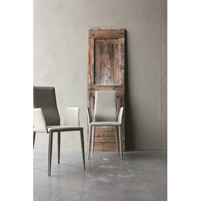 Data Genuine Leather Upholstered Dining Chair Color: Dove
