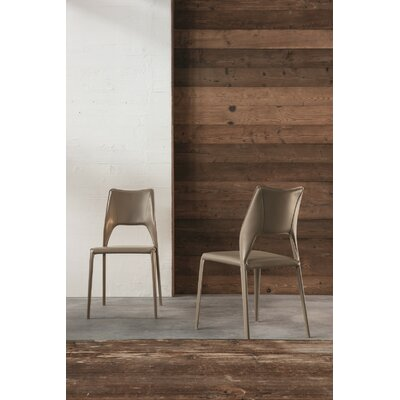 Juno Genuine Leather Upholstered Dining Chair Color: Dark Grey