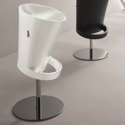 Olivia Air Adjustable Height Swivel Bar Stool Finish: White