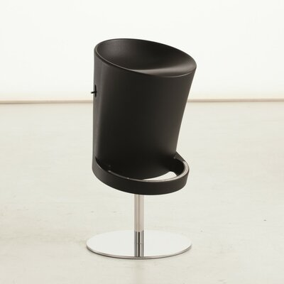 Olivia Air Adjustable Height Swivel Bar Stool Finish: Black