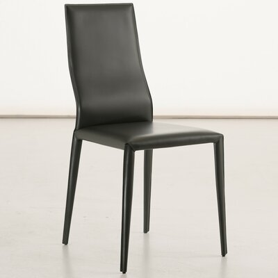 Data Genuine Leather Upholstered Dining Chair Color: Black