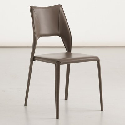Juno Genuine Leather Upholstered Dining Chair Color: Dove