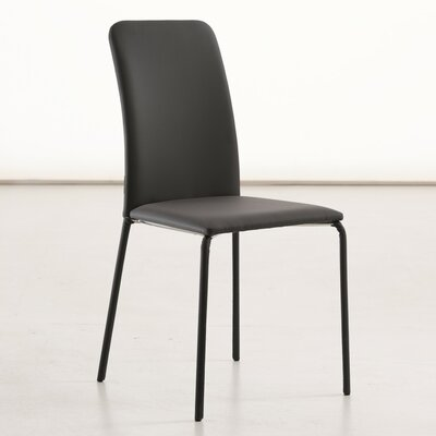 Gigi Genuine Leather Upholstered Dining Chair Color: Dark Grey