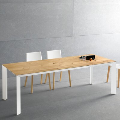 Metropolis Extendable Dining Table Size: 29.9 H x 35.4 W x 63 - 86.6  D, Base Finish: Gray Oak, Top Finish: Natural Oak
