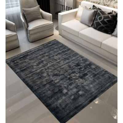 Antique Hand-Woven Charcoal Area Rug Rug Size: 6'7