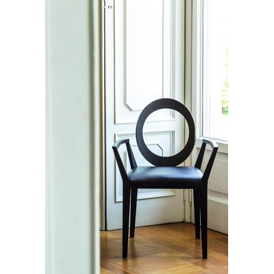 Geraldine Solid Wood Dining Chair Upholstery Type: Black Eco-Leather, Finish: Dark Oak