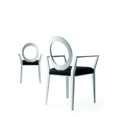 Geraldine Arm Chair Upholstery Type: Black Genuine Leather, Finish: White Laquered