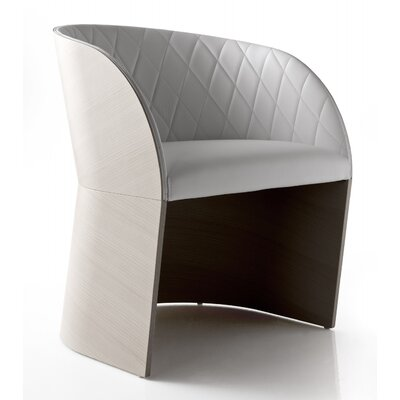 Hudson Arm Chair in Genuine Leather Color: White