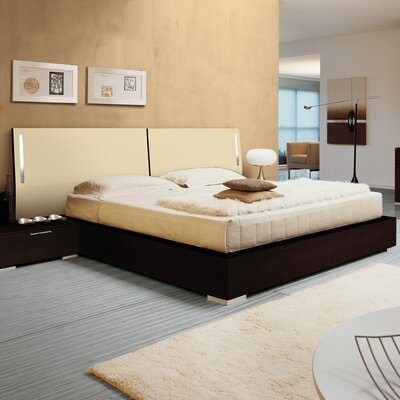 Enter Platform Bed Finish: Beige Lacquered, Size: Queen