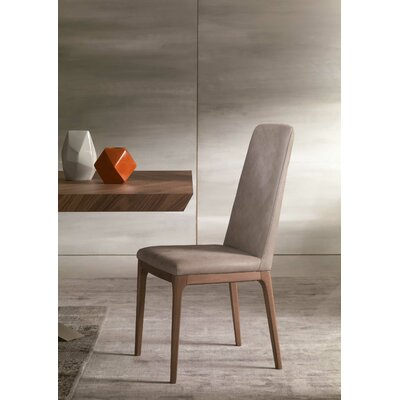 Post Genuine Leather Upholstered Dining Chair Upholstery: Light Gray
