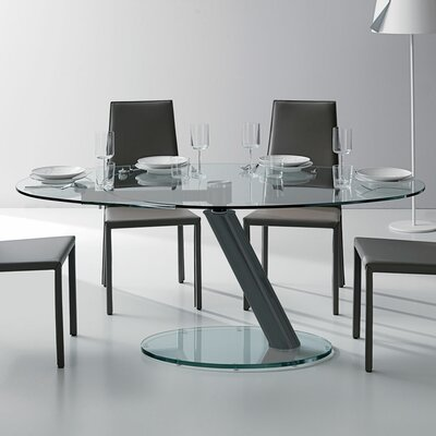 Onda Oval Extendable Dining Table Top Finish: Clear, Base Finish: Graphite