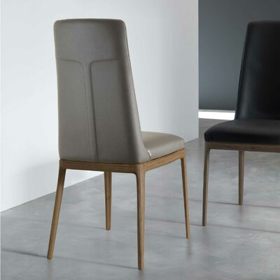 Post Genuine Leather Upholstered Dining Chair Upholstery: Coffee Cream