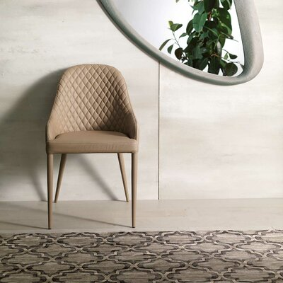 Bora Genuine Leather Upholstered Dining Chair Upholstery: Dark Beige