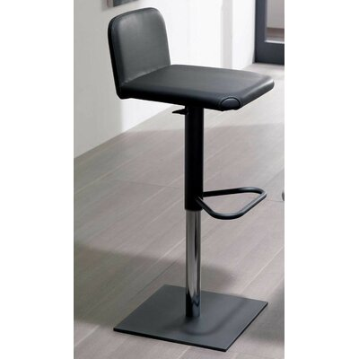 Linus Adjustable Height Swivel Bar Stool Upholstery: Black, Finish: Graphite Coated