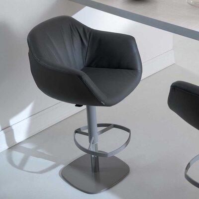 Piros Adjustable Height Swivel Bar Stool Upholstery: Black