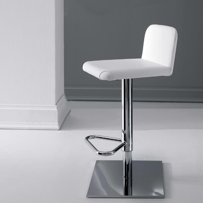 Linus Adjustable Height Swivel Bar Stool Upholstery: White, Finish: Chromed