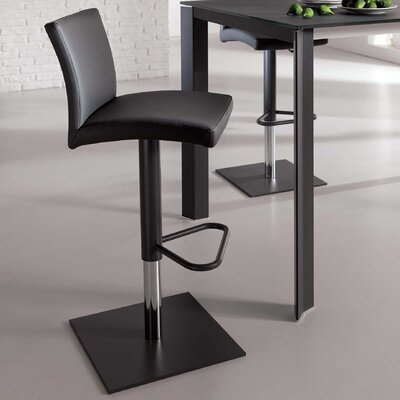 Sport Adjustable Height Swivel Bar Stool Upholstery: Black