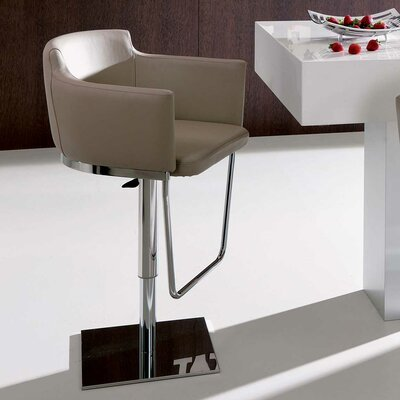 Geordie Adjustable Height Swivel Bar Stool Upholstery: White, Finish: Matt Graphite