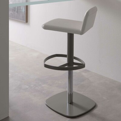 Scout Adjustable Height Swivel Bar Stool Upholstery: White