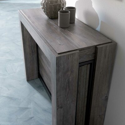 Mistic Graphite Coated Metal Structure Laminate Transformable Console Table Finish: Dark Brown