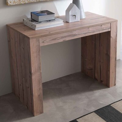 Space Metal Mechanism Zebrano Wood Transformable Console Table Finish: Natural Ancient