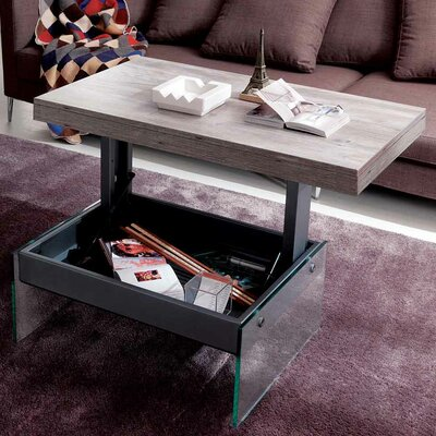 Logan Matt Graphite Coated Metal Structure Glass Legs Multifunctional Coffee Table