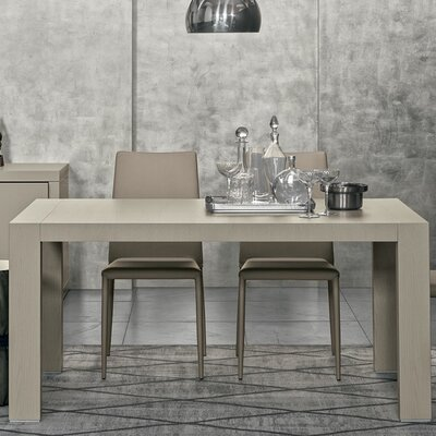 Doppio Passo Rectangular Extendable Dining Table Finish: Gray Open-Pore Lacquered Finish