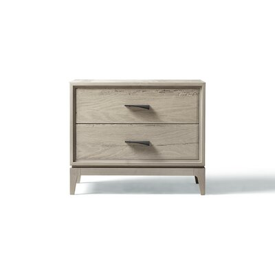 Matteo 2 Drawer Nightstand Color: Gray