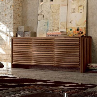 Alma Sideboard Color: Natural Walnut Finish - Curved Doors