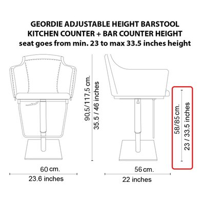 Geordie Adjustable Height Swivel Bar Stool Upholstery: Mastice, Finish: Chromed