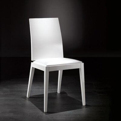 Picture of YumanMod Lady Side Chair Upholstery: Alkemia Plus-550, Finish: Black / White HG in Large Size