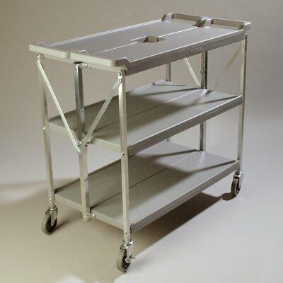 Carlisle Sanitary Maintenance Products Fold 'N Go® Serving Cart - Frame Finish: Gray