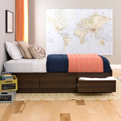 Norristown Extra Long Twin Platform Bed with Storage Color: Espresso
