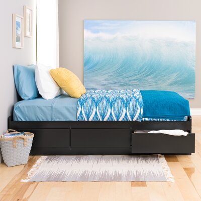 Norristown Extra Long Twin Platform Bed with Storage Color: Black