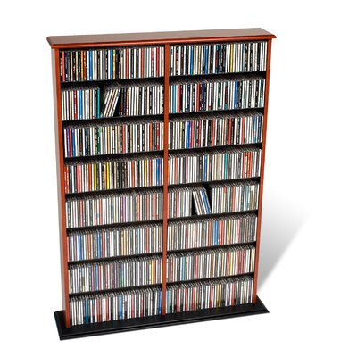 Deliah Double Width Multimedia Storage Rack Color: Cherry and Black