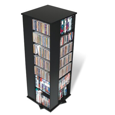 Prepac Black Four Sided Spinner / Multimedia Storage Tower Holds 800 CDs BMS-0800-K