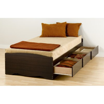 Cheap Twin Platform Storage Bed with Three Drawers in Espresso (PRP1283)