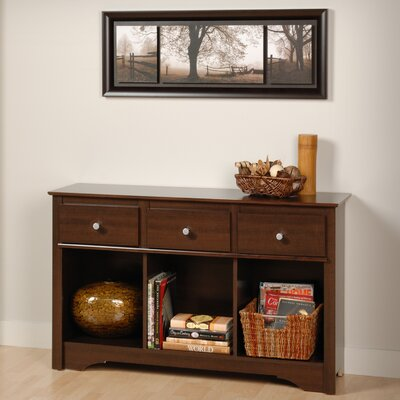 Cheap Prepac Living Room Console Table with Three Drawers in Espresso (PRP1288)