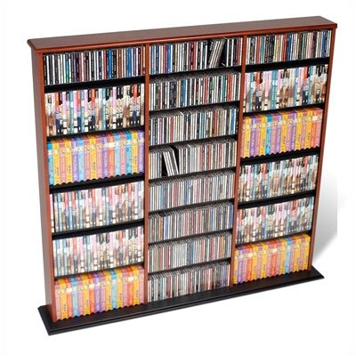 Triple Width Multimedia Storage Rack Finish: Cherry and Black