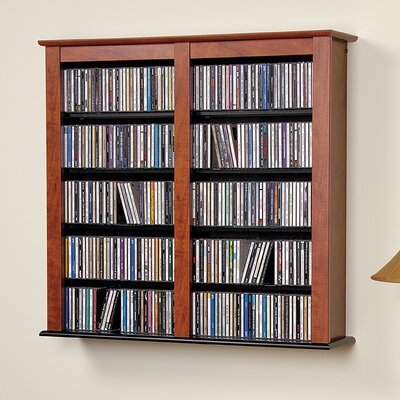 Floating Wall Mounted Double Multimedia Storage Rack Color: Brown