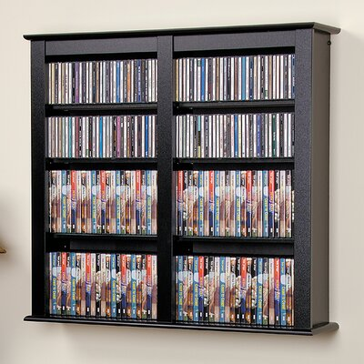 Floating Wall Mounted Double Multimedia Storage Rack Finish: Black