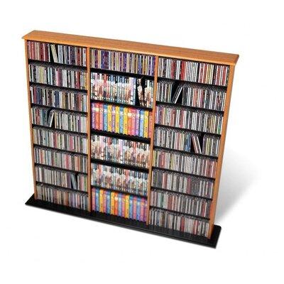 Triple Width Multimedia Storage Rack Finish: Oak and Black