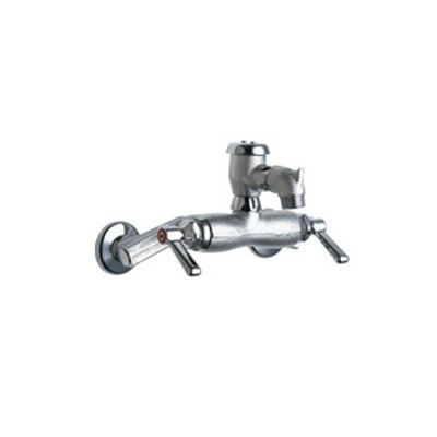 Wall Mounted Service Sink Faucet with Vacuum Breaker Rigid Spout and Double Lever Handle Finish: Rough Chrome