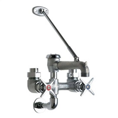 Manual Garage Faucet with Body Support Plate and Double Cross Handle Finish: Rough Chrome