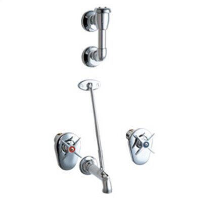 Manual Wall Mounted Service Sink Faucet with Breaker Spout, Pail Hook, Wall Brace and  Cross Handle